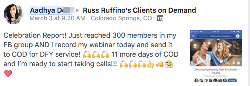 Celebration Report! Just reached 300 members in my FB group AND I record my webinar today and send it to COD for DFY service! 🙌🙌🙌 11 more days of COD and I'm ready to start taking calls!!! 🙌🙌🙌👍👊🤗