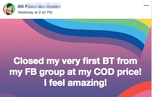 Closed my very first BT from my FB group at my COD price! I feel amazing!