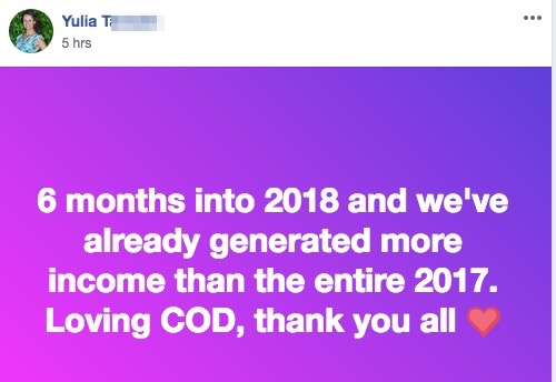 6 months into 2018 and we've already generated more income than the entire 2017. Loving COD, thank you all
