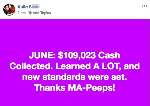 JUNE: $109,023 Cash Collected. Learned A LOT, and new standards were set. Thanks MA-Peeps!