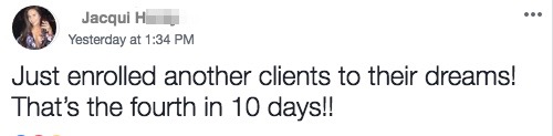 Just enrolled another clients to their dreams! That's the fourth in 10 days!