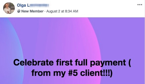 Celebrate first full payment ( from my #5 client!!!)