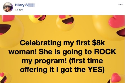 Celebrating my first $8k woman! She is going to ROCK my program! (first time offering it I got the YES)
