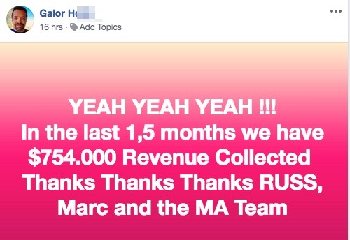 YEAH YEAH YEAH !!! In the last 1,5 months we have $754.000 Revenue Collected Thanks Thanks Thanks RUSS, Marc and the MA Team