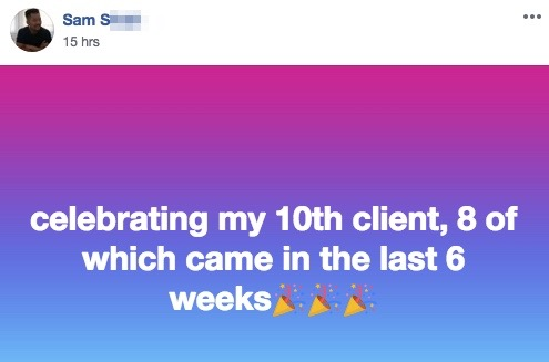celebrating my 10th client, 8 of which came in the last 6 weeks