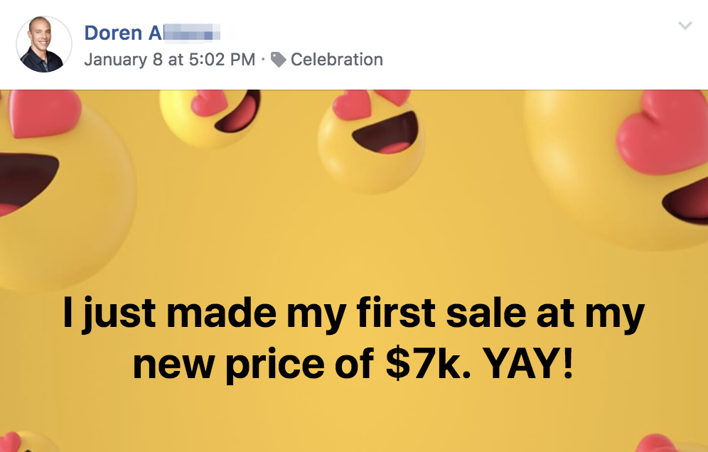 I just made my first sale at my new price of $7k. YAY