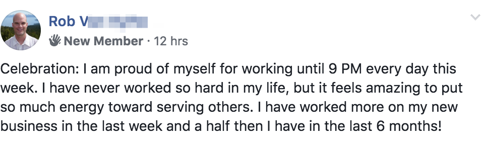 Celebration: I am proud of myself for working until 9 PM every day this week. I have never worked so hard in my life, but it feels amazing to put so much energy toward serving others. I have worked more on my new business in the last week and a half then I have in the last 6 months!