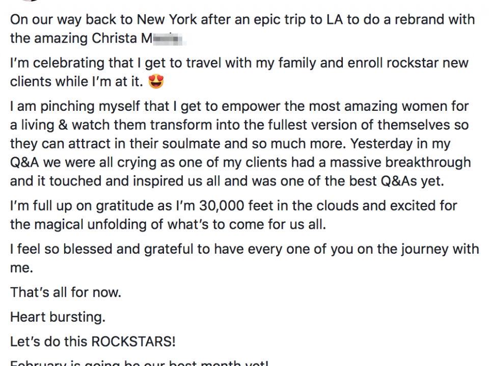 On our way back to New York after an epic trip to LA to do a rebrand with the amazing Christa Meola. I'm celebrating that I get to travel with my family and enroll rockstar new clients while I'm at it. ? I am pinching myself that I get to empower the most amazing women for a living & watch them transform into the fullest version of themselves so they can attract in their soulmate and so much more. Yesterday in my Q&A we were all crying as one of my clients had a massive breakthrough and it touched and inspired us all and was one of the best Q&As yet. I'm full up on gratitude as I'm 30,000 feet in the clouds and excited for the magical unfolding of what's to come for us all. I feel so blessed and grateful to have every one of you on the journey with me. That's all for now. Heart bursting. Let's do this ROCKSTARS! February is going be our best month yet!