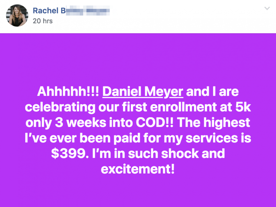 Ahhhhh!!! Daniel Meyer and I are celebrating our first enrollment at 5k only 3 weeks into COD!! The highest I've ever been paid for my services is $399. I'm in such shock and excitement!