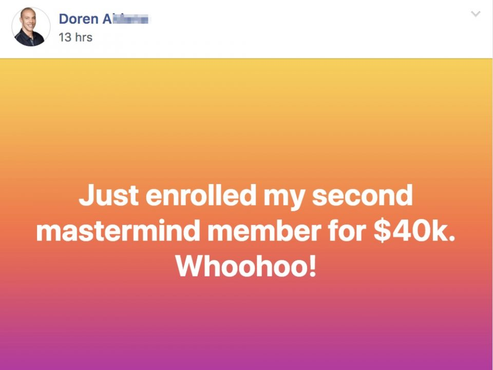 Just enrolled my second mastermind member for $40k. Whoohoo!