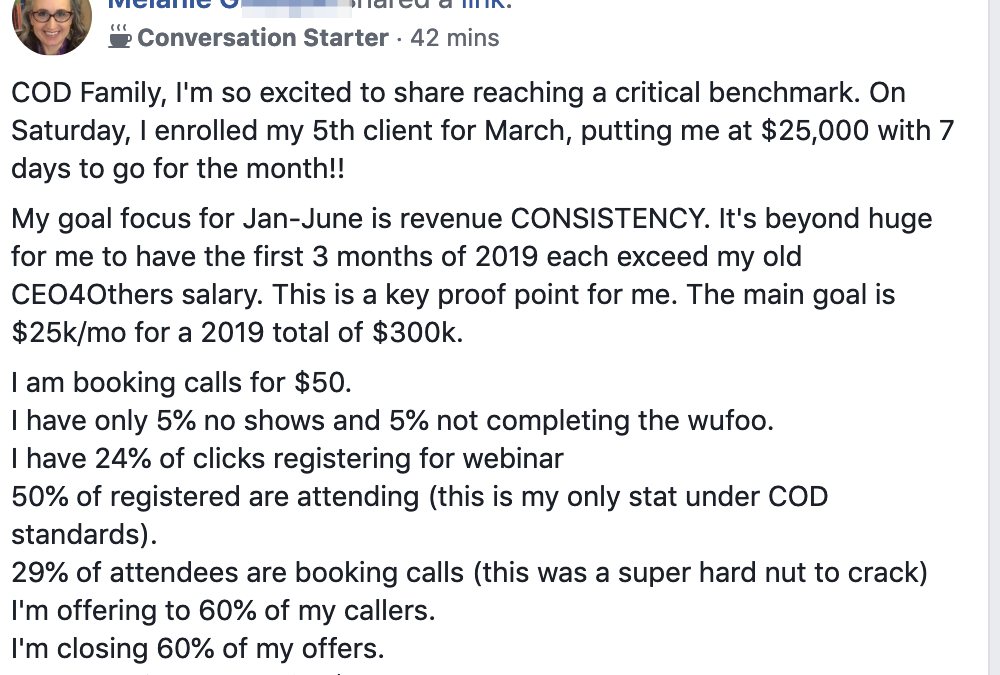 COD Family, I'm so excited to share reaching a critical benchmark. On Saturday, I enrolled my 5th client for March, putting me at $25,000 with 7 days to go for the month!! My goal focus for Jan-June is revenue CONSISTENCY. It's beyond huge for me to have the first 3 months of 2019 each exceed my old CEO4Others salary. This is a key proof point for me. The main goal is $25k/mo for a 2019 total of $300k. I am booking calls for $50. I have only 5% no shows and 5% not completing the wufoo. I have 24% of clicks registering for webinar 50% of registered are attending (this is my only stat under COD standards). 29% of attendees are booking calls (this was a super hard nut to crack) I'm offering to 60% of my callers. I'm closing 60% of my offers. I am enrolling people for $175.