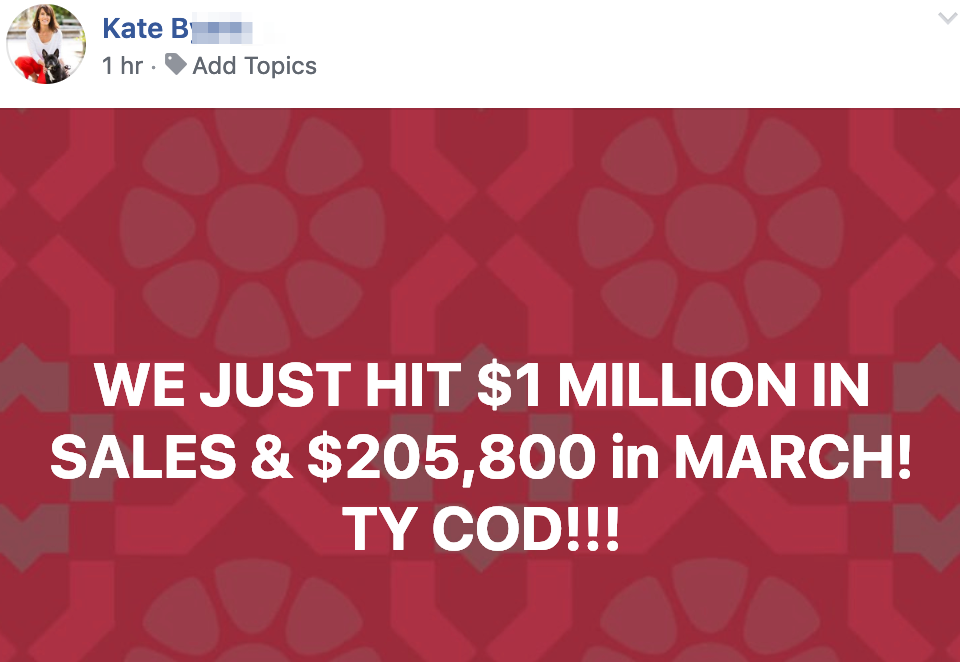 WE JUST HIT $1 MILLION IN SALES & $205,800 in MARCH! TY COD!!!