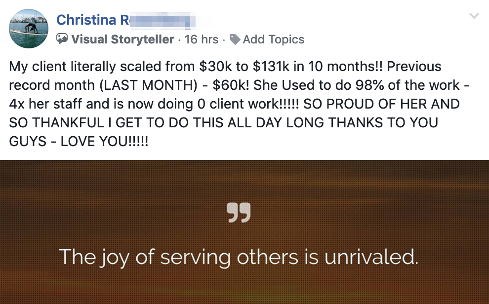 My client literally scaled from $30k to $131k in 10 months!! Previous record month (LAST MONTH) - $60k! She Used to do 98% of the work - 4x her staff and is now doing 0 client work!!!!! SO PROUD OF HER AND SO THANKFUL I GET TO DO THIS ALL DAY LONG THANKS TO YOU GUYS - LOVE YOU!!!!!