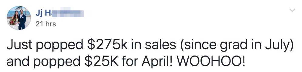 Just popped $275k in sales (since grad in July) and popped $25K for April! WOOHOO!