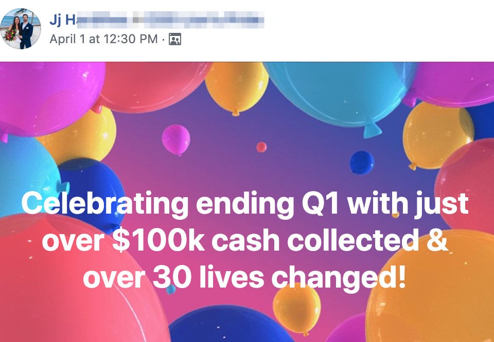 Celebrating ending Q1 with just over $100k cash collected & over 30 lives changed!