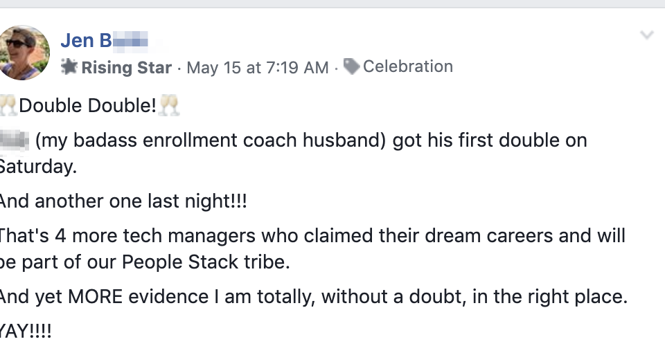 🥂Double Double!🥂 (my badass enrollment coach husband) got his first double on Saturday. And another one last night!!! That's 4 more tech managers who claimed their dream careers and will be part of our People Stack tribe. And yet MORE evidence I am totally, without a doubt, in the right place. YAY!!!!