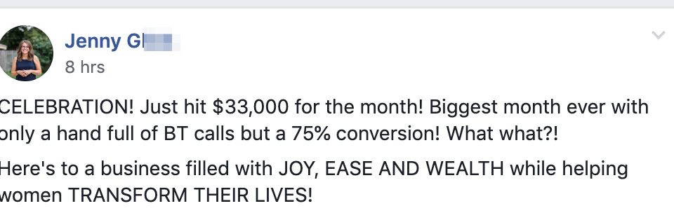 CELEBRATION! Just hit $33,000 for the month! Biggest month ever with only a hand full of BT calls but a 75% conversion! What what?! Here's to a business filled with JOY, EASE AND WEALTH while helping women TRANSFORM THEIR LIVES!