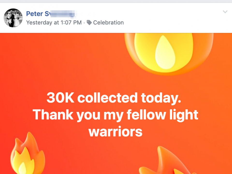 30K collected today. Thank you my fellow light warriors