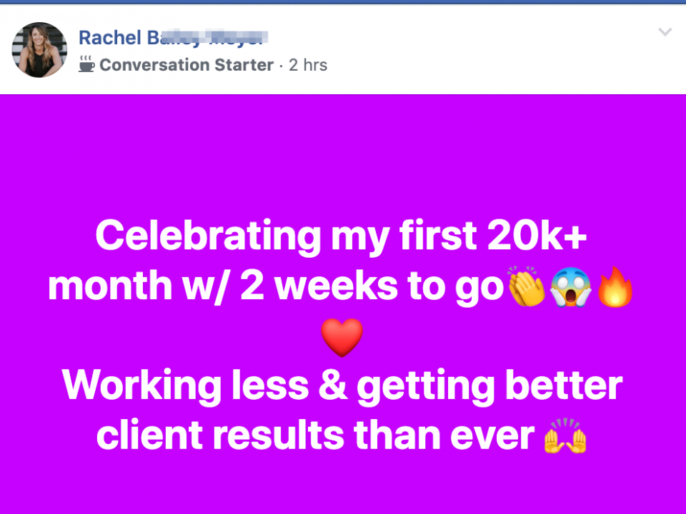 Celebrating my first 20k+ month w/ 2 weeks to go👏😱🔥❤️ Working less & getting better client results than ever