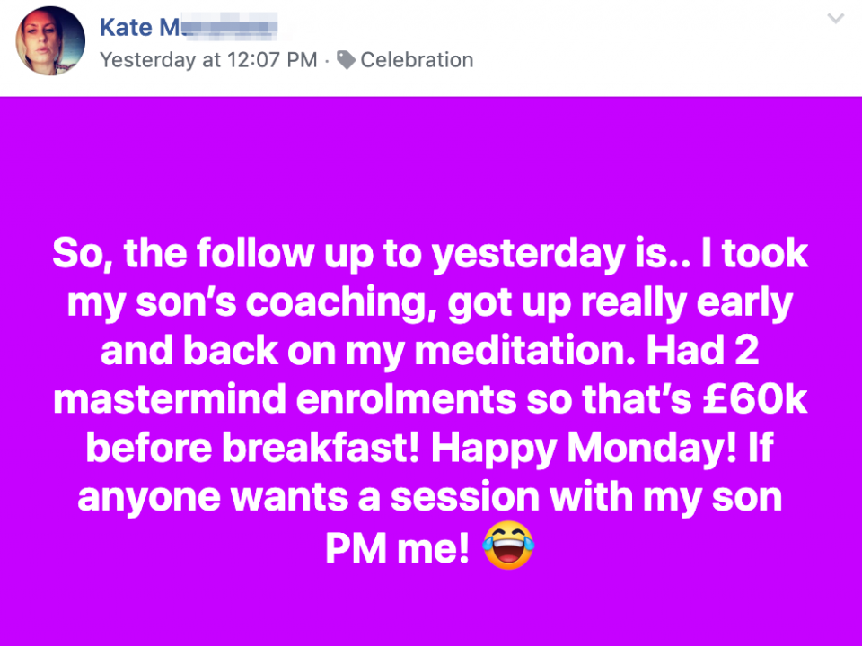 So, the follow up to yesterday is.. I took my son's coaching, got up really early and back on my meditation. Had 2 mastermind enrolments so that's £60k before breakfast! Happy Monday! If anyone wants a session with my son PM me!