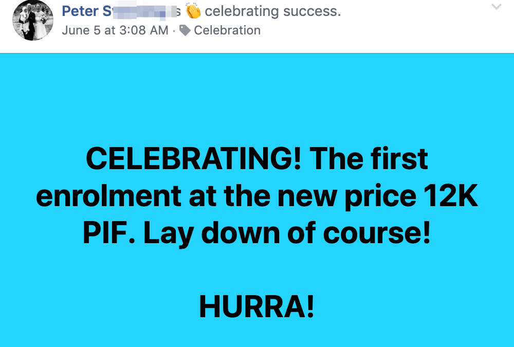 CELEBRATING! The first enrolment at the new price 12K PIF. Lay down of course! HURRA!