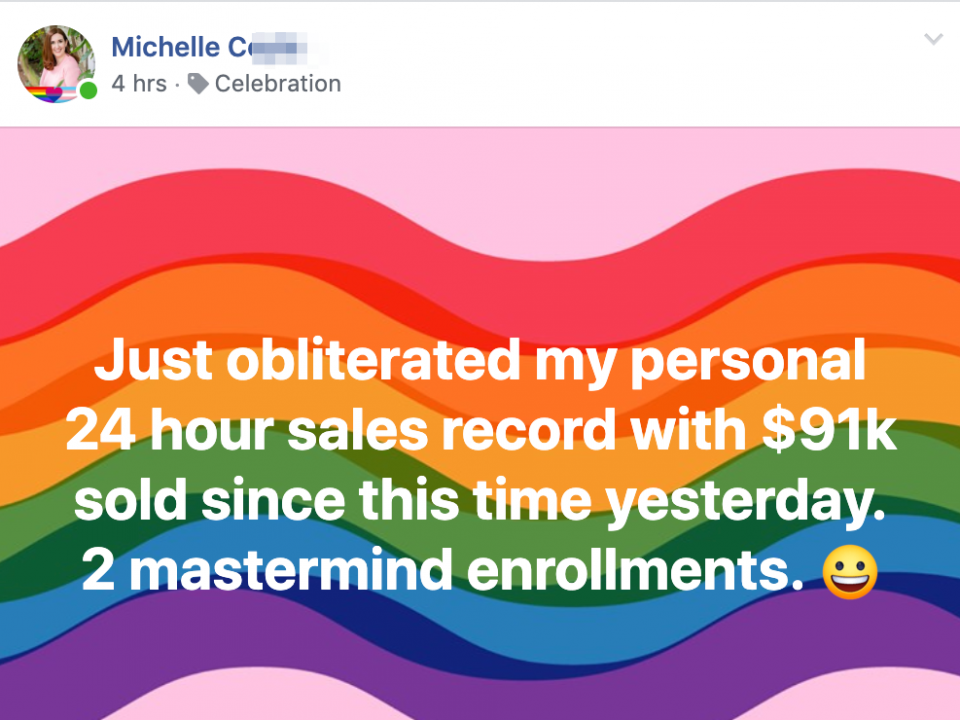 Just obliterated my personal 24 hour sales record with $91k sold since this time yesterday. 2 mastermind enrollments.