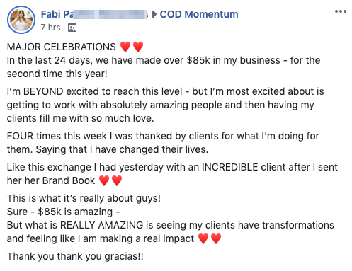 MAJOR CELEBRATIONS ♥️♥️ In the last 24 days, we have made over $85k in my business - for the second time this year! I'm BEYOND excited to reach this level - but I'm most excited about is getting to work with absolutely amazing people and then having my clients fill me with so much love. FOUR times this week I was thanked by clients for what I'm doing for them. Saying that I have changed their lives. Like this exchange I had yesterday with an INCREDIBLE client after I sent her her Brand Book ♥️♥️ This is what it's really about guys! Sure - $85k is amazing - But what is REALLY AMAZING is seeing my clients have transformations and feeling like I am making a real impact ♥️♥️ Thank you thank you gracias!!