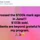 Crossed the $100k mark again in June!!! $103k sold. Clients are beyond grateful for my program.