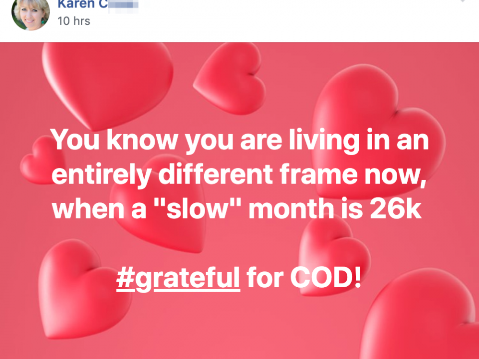 "You know you are living in an entirely different frame now, when a ""slow"" month is 26k #grateful for COD!"