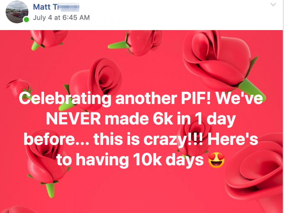 Celebrating another PIF! We've NEVER made 6k in 1 day before... this is crazy!!! Here's to having 10k days