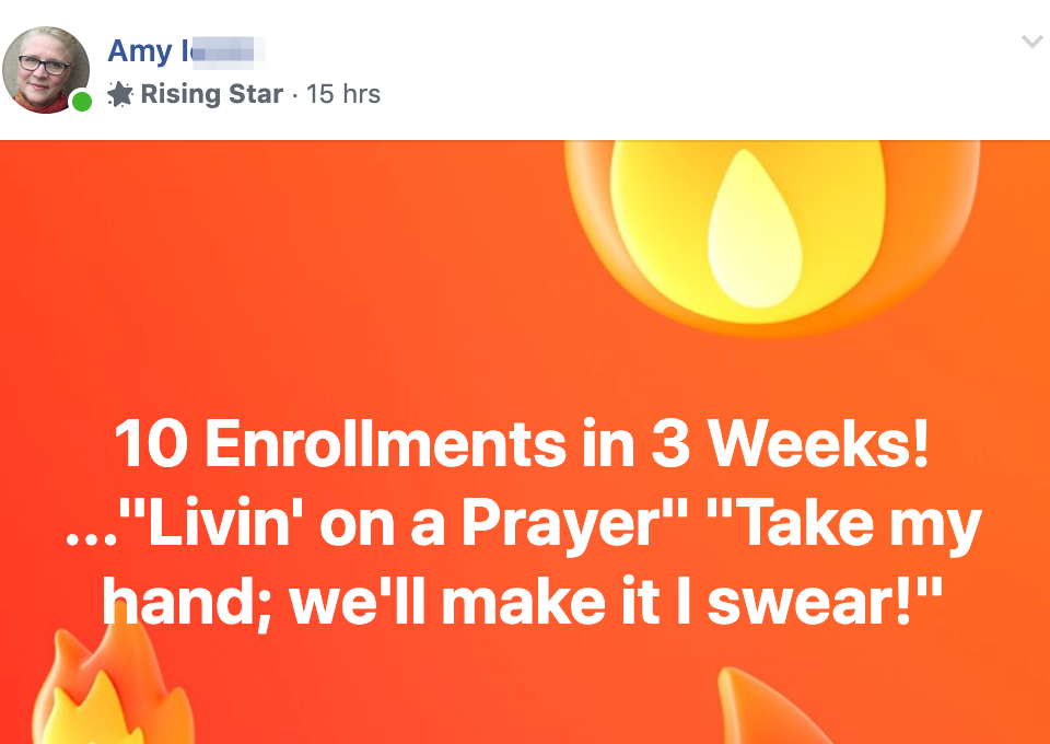 "10 Enrollments in 3 Weeks! ...""Livin' on a Prayer"" ""Take my hand; we'll make it I swear!"""