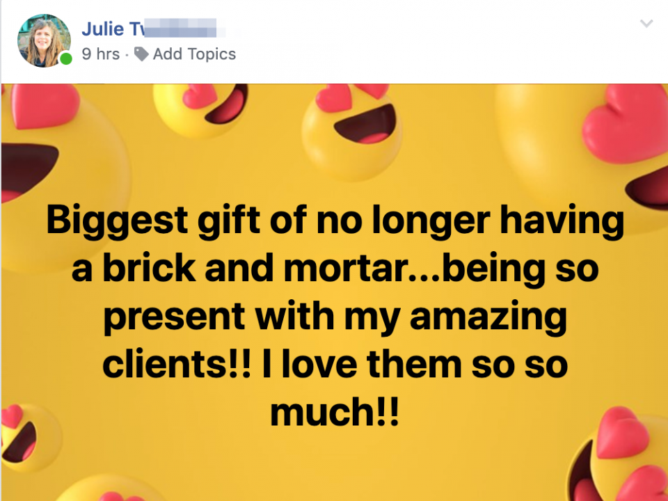 Biggest gift of no longer having a brick and mortar...being so present with my amazing clients!! I love them so so much!!