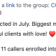 Celebration! $41,000 collected in July. Biggest month ever! - Serving 8 clients beautiful clients with love! ❤️ - $41,000 collected - 72% enrollment rate 8 of 11 callers enrolled into their dream.