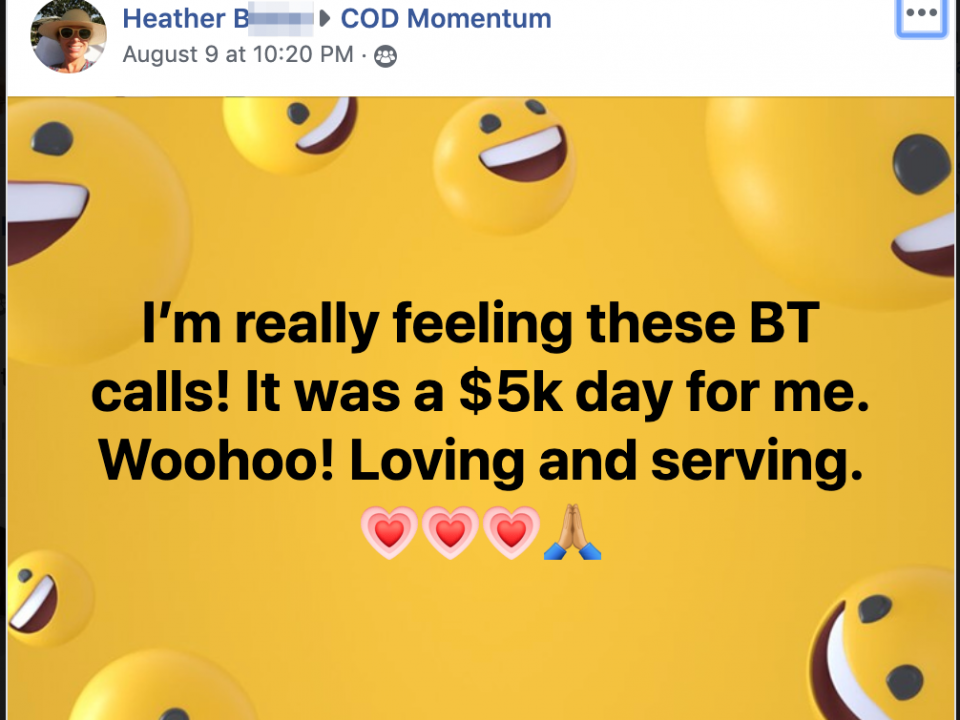 I'm really feeling these BT calls! It was a $5k day for me. Woohoo! Loving and serving.